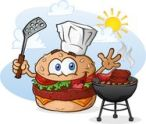 hamburger-cheeseburger-cartoon-character-grilling-chef-hat-hamburgers-hotdogs-over-charcoal-grill-outside-summer-39796486
